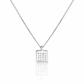 Collier Cristal & Diamants Or Blanc 18K