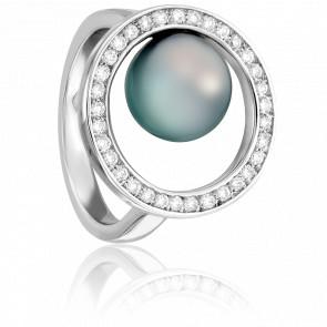 Bague Cap Spear Perle Tahiti, Or Blanc et Diamants