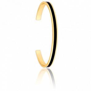 Bracelet Jonc Bangle Noir Plaqué Or