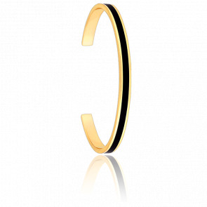 Bracelet Jonc Bangle Noir Plaqué Or Jaune