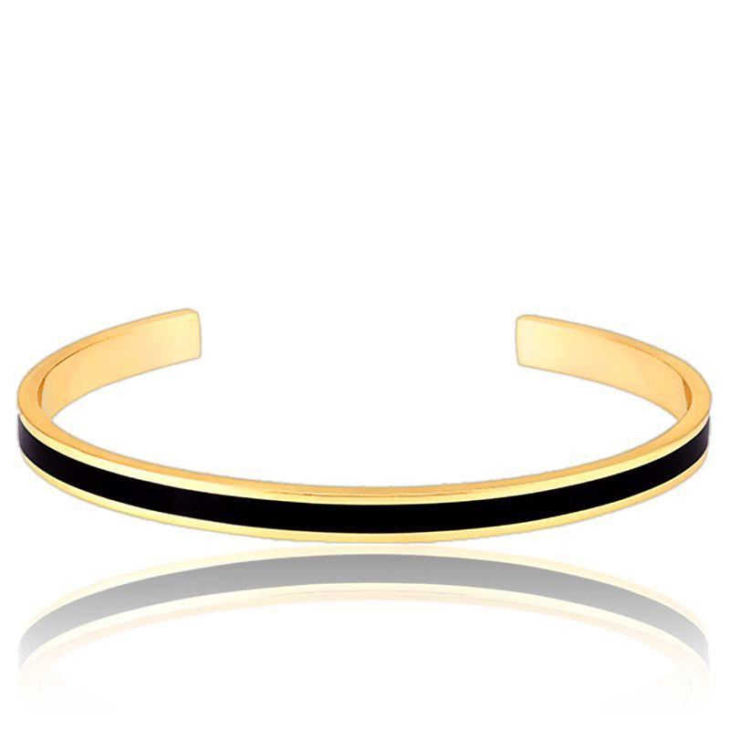 bracelet jonc bangle noir plaqu or bangle up ocarat. Black Bedroom Furniture Sets. Home Design Ideas