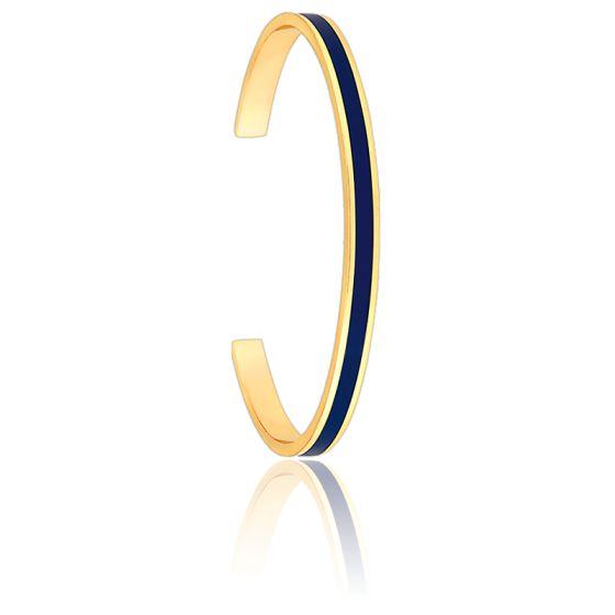 Bracelet Jonc Bangle Bleu Nuit Plaqué Or Jaune