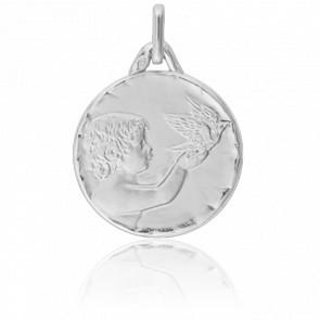 Médaille Ange à la Colombe Bord Facetté Or Blanc 18K