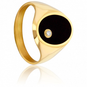 Chevalière Onyx, Diamant 0,02 ct & Or Jaune 9K