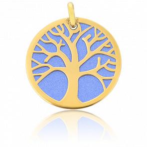 Médaille Arbre de Vie Bleutée Or Jaune 9K & Acier Bleu