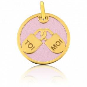 Médaille Cadenas Toi & Moi Or Jaune 9K et Acier Rose