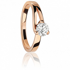 Bague Solitaire simple 0,20 ct Etoile Or Rose
