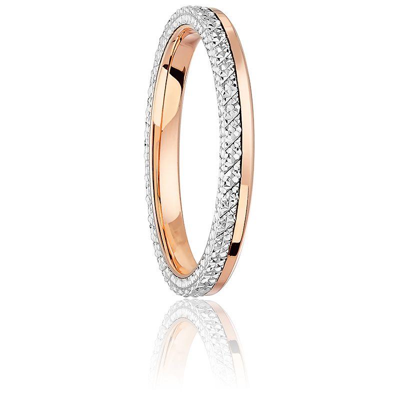 Alliance Ruban Diamanté Or Rose 18K & Platine