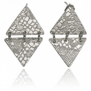 Boucles d'Oreilles Joss Bronze Plaqué Argent Blanc