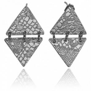 Boucles d'Oreilles Joss Bronze Plaqué Argent Vieilli