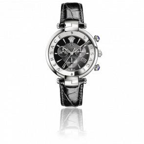 Montre Reve Chrono 41mm Bracelet Cuir Noir Cadran Noir VAJ01 0016