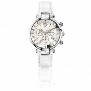 Montre Reve Chrono 41mm Bracelet Cuir Blanc Cadran Blanc VAJ02 0016
