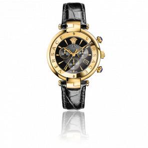 Montre Reve Chrono 41mm Bracelet Cuir Noir Cadran Doré VAJ04 0016