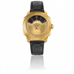 Montre Dylos Icon Bracelet Cuir Noir Cadran Noir VQU02 0015