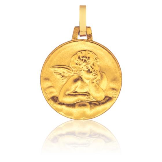 Médaille Sablée Ange Raphaël Or Jaune 18K