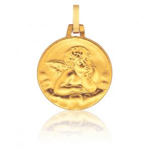 Médaille Sablée Ange Raphaël Or Jaune 9K
