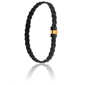 Bracelet 607N Poils Eléphant Tressé, Acier & Or Jaune 18K