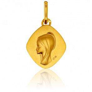 Médaille Losange Vierge Auréole Or Jaune 18K
