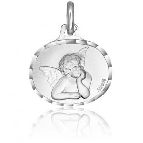 Médaille Ovale Ange Raphaël Or Blanc 18K