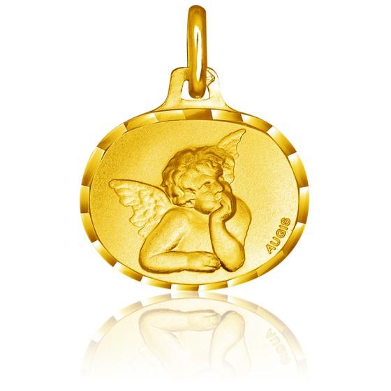 Médaille Ovale Ange Raphaël Or Jaune 18K