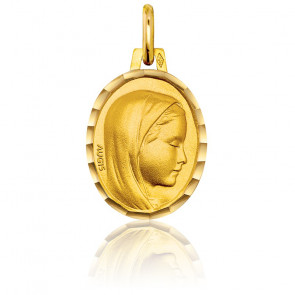 Médaille Vierge Profil Droit Ovale Or Jaune 18K