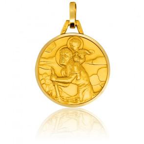 Médaille Saint Christophe Relief Or Jaune 18K