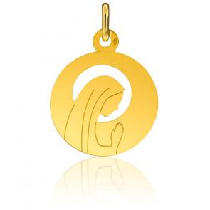 Médaille Vierge Contemporaine Auréole Ajourée Or Jaune 18K