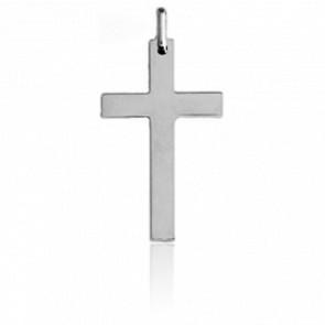Croix à Fil Carré 28 x 17 mm en Or Blanc 18K