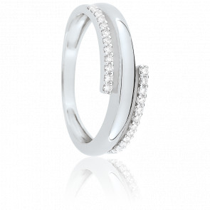 Bague Eclipse 6 mm Or Blanc