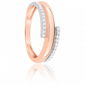 Bague Eclipse 6 mm Or Blanc et Or Rose