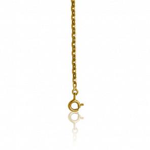 Chaîne Forçat Diamantée, Or Jaune 9K, longueur 45 cm