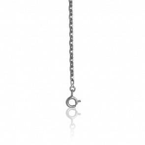 Chaîne Forçat Diamantée, Or Blanc 9K, longueur 60 cm