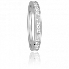 Alliance Helena Or Blanc 9K et Diamants Princesses G/SI2 0,36ct