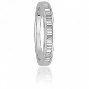 Alliance Donna Or Blanc 9K et Diamants Baguettes G/SI2 0,43ct