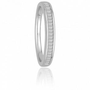 Alliance Donna Or Blanc 18K et Diamants Baguettes G/VS 0,35ct