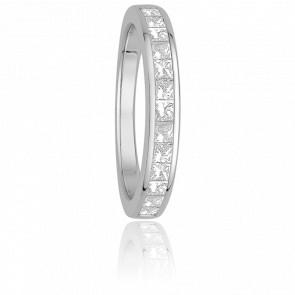 Alliance Helena Or Blanc 9K et Diamants Princesses G/SI2 0,60ct