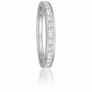 Alliance Helena Or Blanc 18K et Diamants Princesses G/VS 0,36ct