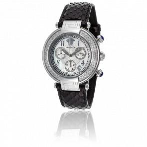 Montre Reve Chrono 40mm Bracelet Cuir Noir Cadran Acier Serti Diamants Q5C91D498 S009