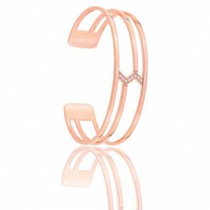 Bracelet Manchette Minimale Plaqué Or Rose