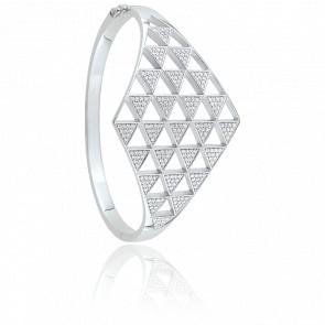 Bracelet Manchette Arrow Shining Argent & Zircons 2,75 ct