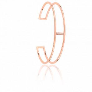 Bracelet Minimale Plaqué Or Rose & Zircons