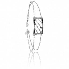 Bracelet Chevalière Argent & Diamants noirs