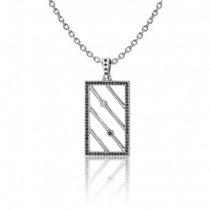 Collier Chevalière Argent & Diamants noirs