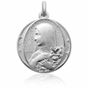 Médaille de Berceau Sainte Thérèse à la Croix Argent