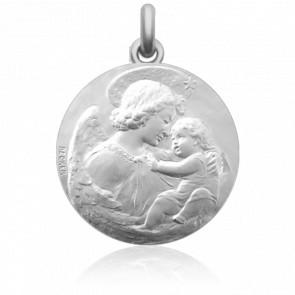 Médaille de Berceau Ange à l'Enfant Argent