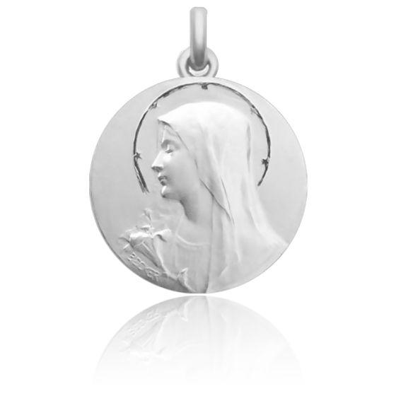 Médaille de Berceau Annonciation & Bouquet de Fleurs Argent