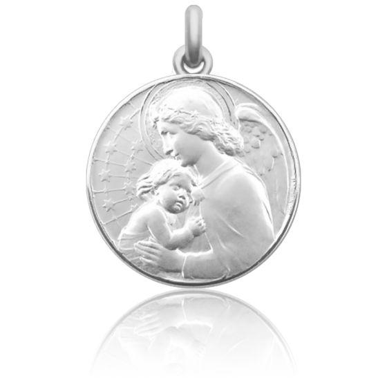Médaille de Berceau Ange à l'Enfant Etoilé Argent