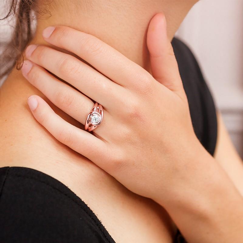 passion bague solitaire or rose et diamant bague. Black Bedroom Furniture Sets. Home Design Ideas