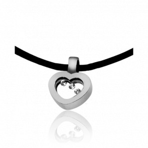 Collier Cordon Petit Coeur Diamants & Or Blanc 18K