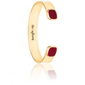 Bracelet Jonc Salomé Rouge Grenat Plaqué Or Jaune